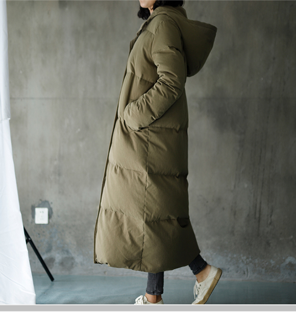 Hooded Women Loose Winter Jacket Winter Long Women Down Coat BC1008