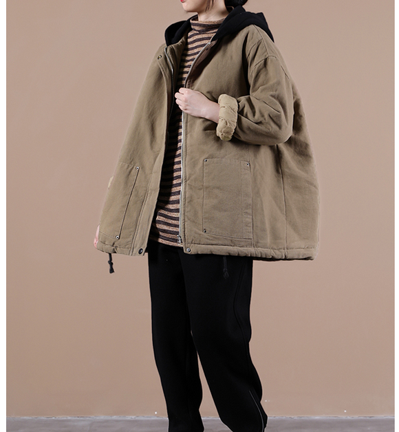 Women Fall Winter Casual Coat Loose Hooded Parka Short Coat Jacket