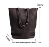 New Pattern Cowhide Single Shoulder Bag Multi-Layer Large Capacity Soft Leather Bag