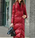 V Neck Long Women Down Coat Hooded Winter Loose 90% Duck Down Jackets