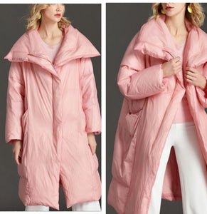 Pink women Winter 90% Duck Down Jackets Large Collar Women Down Coat Plus Size