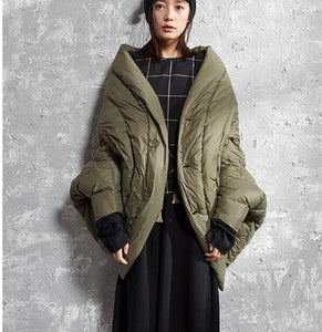 Army Green Women Winter Loose 90% Duck Down Jackets Warm Down Coat Plus Size