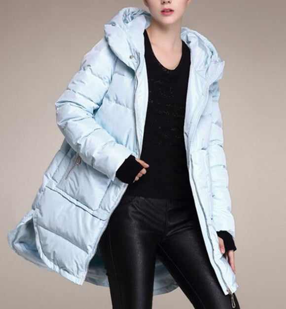 Hooded Loose Women Down Coat Waist Belt Winter 90% Duck Down Jackets With Large Pockets