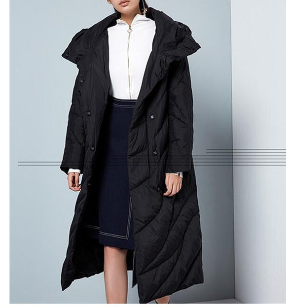 Casual Long Hooded Women Winter Thick 90% Duck Down Jackets Warm Down Coat