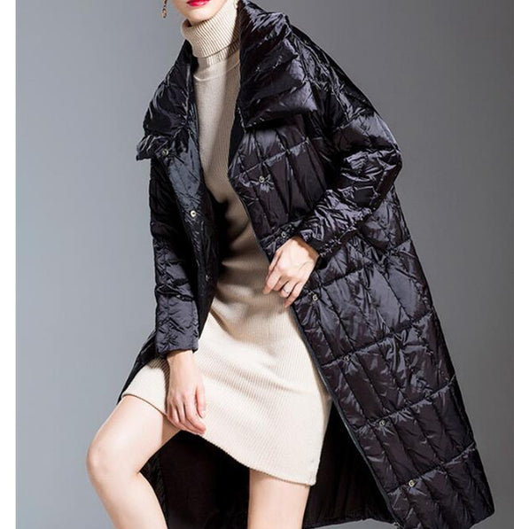 Long Loose Women Down Coat High Collar Winter Loose 90% Duck Down Jackets
