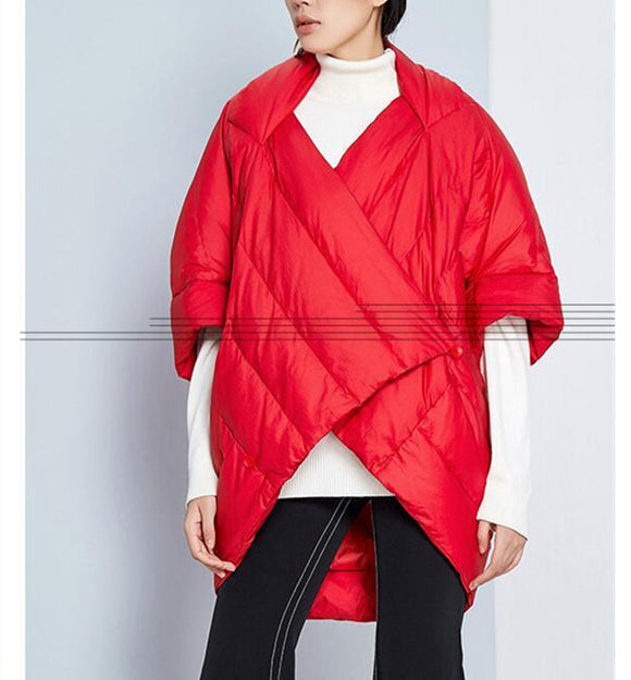 Two Ways Wear Women Winter CloakLoose Duck Down Jackets Cape Long Warm Women Long Down Cloak