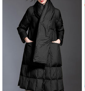 Women Down Coat Winter Loose 90% Hooded Duck Down Jackets Long Warm Down Coat Any Size