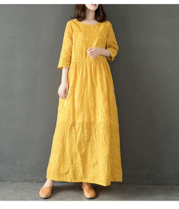 yellow women cotton linen dresses