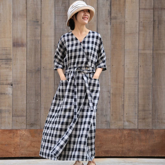 Plaid- linen-women-dresses