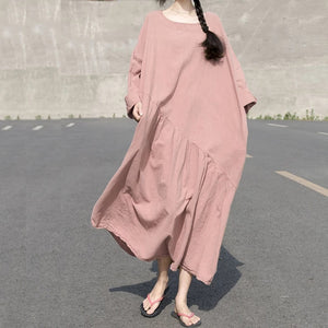 loose-style-linen-women-Short-sleeves