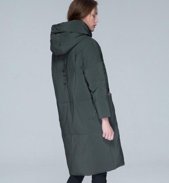Army Green Winter Loose Duck Down Jackets Hooded Warm Women Long Down Coat