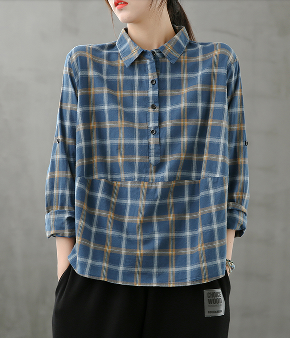 Plaid Women Casual Blouse Cotton Linen Shirts Tops DZA200862