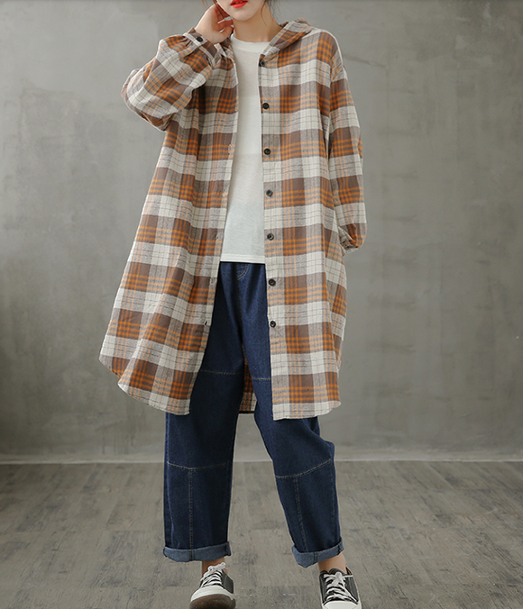 Plaid Women Casual Blouse Cotton Linen Shirts Tops DZA200961