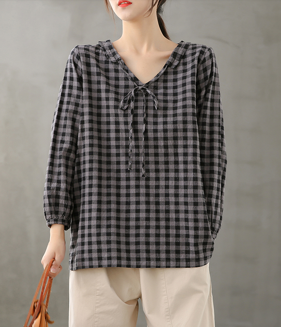Plaid Women Casual Blouse Cotton Linen Shirts Tops DZA200851