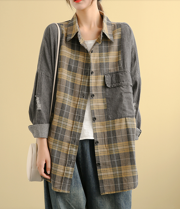 Denim Plaid Autumn Women Casual Blouse Cotton Shirts Tops DZA200853
