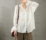 Plaid Women Casual Blouse Cotton Linen Shirts Tops DZA200962