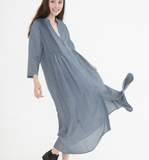 Gray Linen Shirt Women Dresses Buttons Design SJ9201229