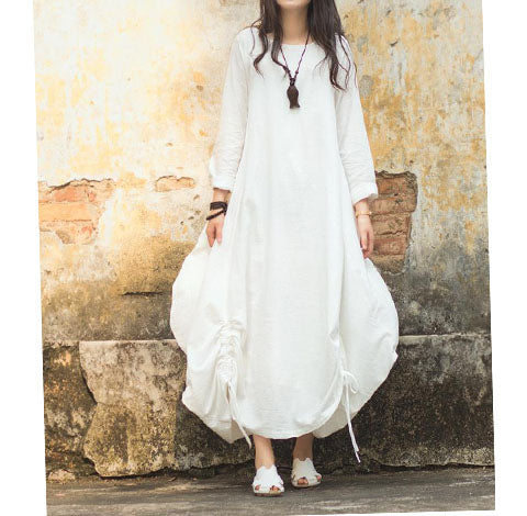 Bud Style-Women-Dresses-Drawstring-Loose-Linen-Cotton-Spring-Dresses