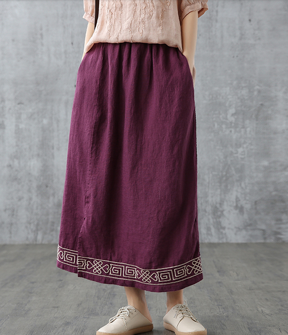 Casual Linen loose fitting Women's Skirts DZA200845