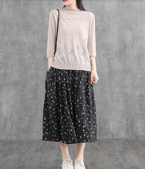 Floral Casual Cotton linen loose fitting Women's Skirts