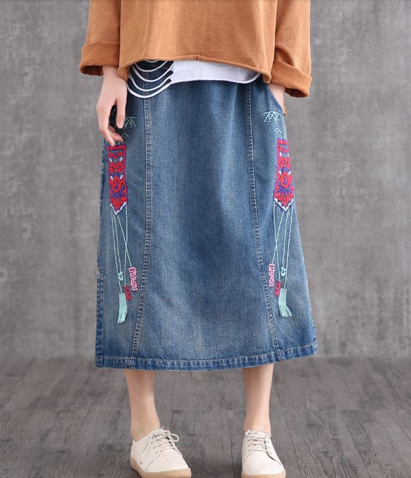 Denim Casual Cotton  loose fitting Women's Skirts