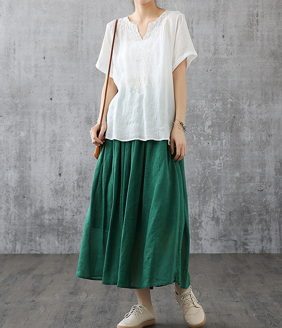 Casual Cotton Linen loose fitting Women's Skirts DZA200841