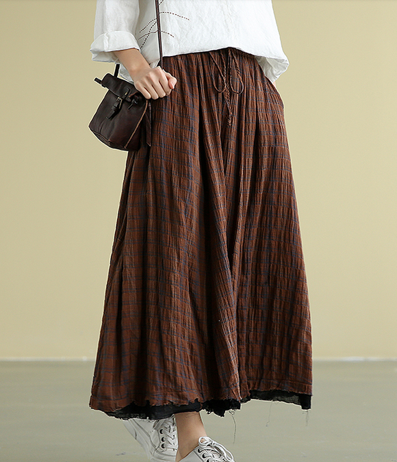 Plaid Casual Linen loose fitting Women's Skirts