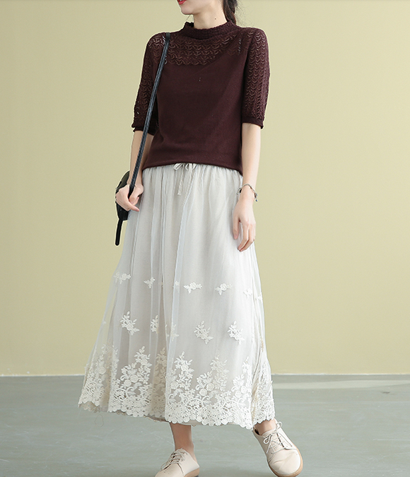 Casual polyester Cotton Cut out embroidery loose fitting Women's Skirts