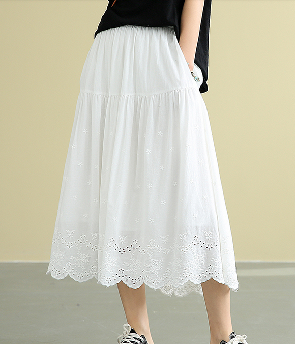 Casual Cotton Cut out embroidery loose fitting Women's Skirts