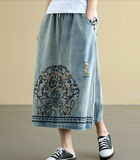 Denim Casual Cotton Linen loose fitting Women's Skirts