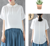 Summer Women Casual Blouse Linen Shirts Tops
