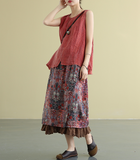 lace Casual Cotton Linen loose fitting Women's Skirts
