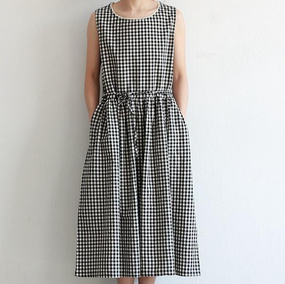 Cotton-Plaid-Summer-Women-Dresses-Sleeveless-O-Neck-Tunic-Dresses  (2)