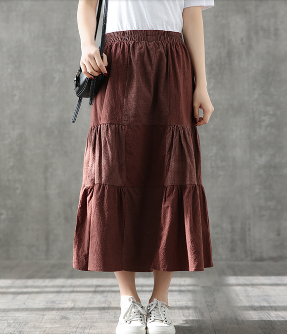 Casual Cotton Linen loose fitting Women's Skirts