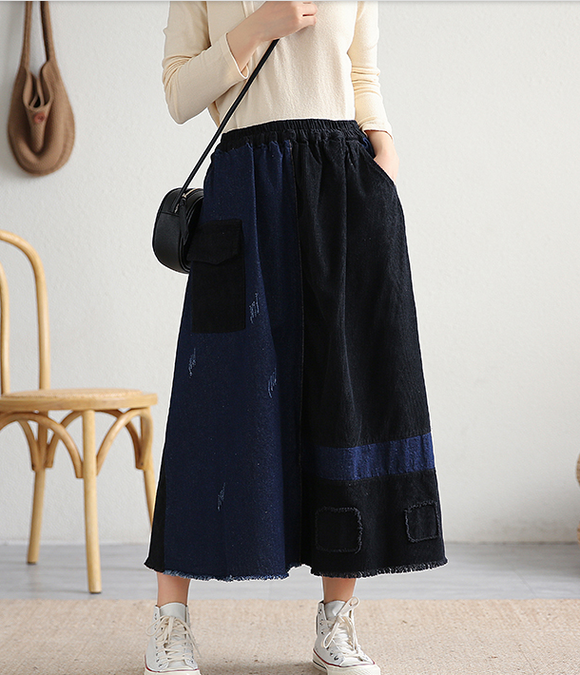 Casual Cotton Linen loose fitting Women's Skirts DZA2006116