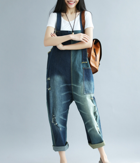 Denim Loose Casual Summer Denim Overall Loose Women Jumpsuits