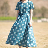 Floral-Print-100%-linen-women-Dresses-O-neck-summer-spring-women-dresses-waist-belt (13)