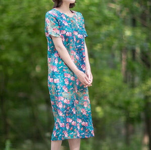 Floral-Print-100%-linen-women-Dresses-V-neck-summer-spring-women-dresses-waist-belt (6)