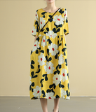 Floral leaf Summer  Linen Spring Women loose and Loose Dresses