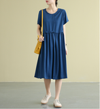 Solid color copper ammonia wire Summer Linen Spring Women loose Dresses
