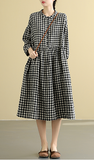 plaid  Summer  Linen Spring Women loose and comfortable Dresses