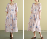 Floral Summer  Linen Spring Women loose and comfortable Dresses