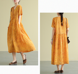 Floral Summer  Linen Spring Women loose and Loose Dresses