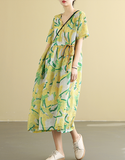 Floral  Summer Cotton Linen Spring Women loose and comfortable Dresses