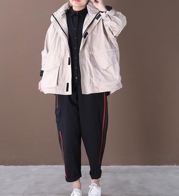 Hooded Loose Short Hooded Casual Coat A line Parka Plus Size Coat Jacket
