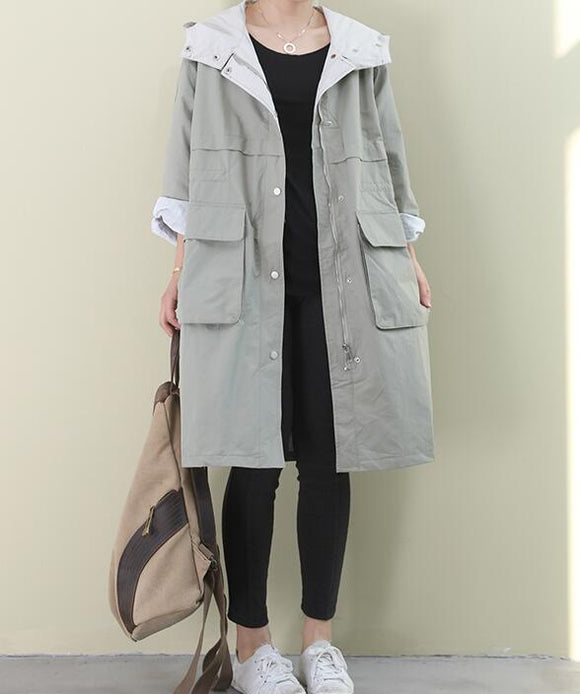 Hooded Loose Short Casual Coat A line Parka Plus Size Coat Jacket