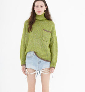 High Collar Short loose Style Women Tops Woolen Knit Sweater