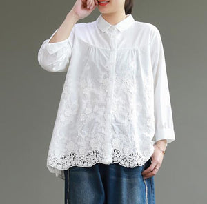 great deals best supplier the cheapest Lace Women Cotton Tops Women Blouse Long Sleeves Loose Style H9505