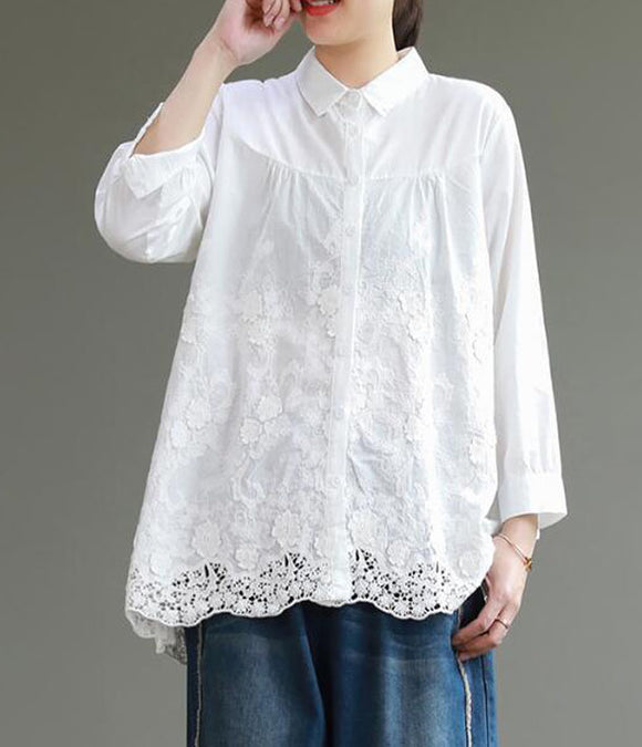 Lace Women Cotton Tops Women Blouse Long Sleeves Loose Style Shirts H9505
