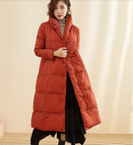 A-Line Long Winter Duck Down Jacket Large Collar Down Jacket Women